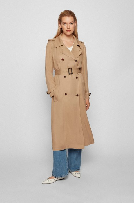 Double-breasted trench coat with stitch-trimmed belt, Beige