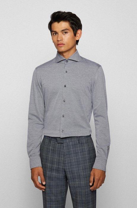 Slim-fit shirt in stretch jersey with spread collar, Dark Grey