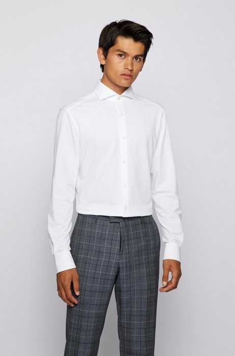 Slim-fit shirt in stretch jersey with spread collar, White