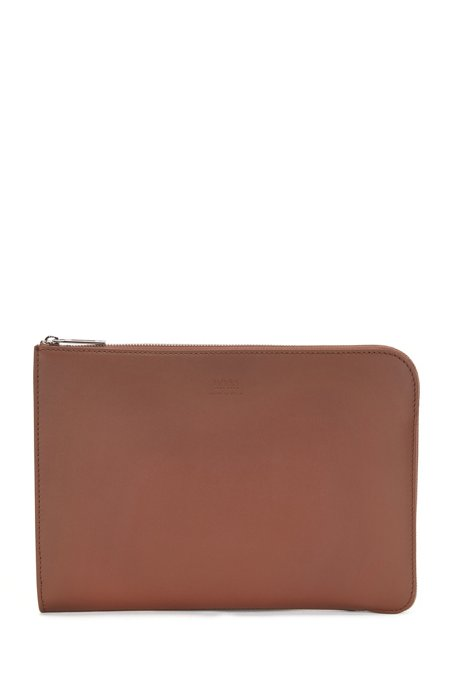 Portfolio case in Italian leather with gradient effect, Light Brown
