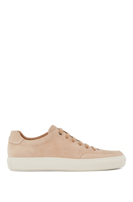 Nubuck-leather trainers made in Italy with cognac lining, Light Beige