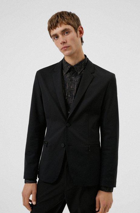 Packable slim-fit jacket in wrinkle-resistant cloth, Black