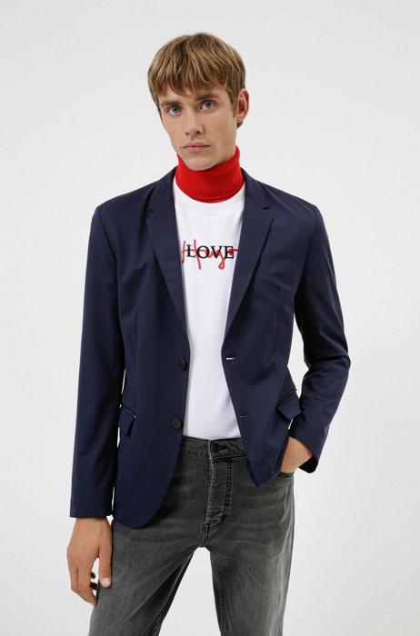 Packable slim-fit jacket in wrinkle-resistant cloth, Dark Blue