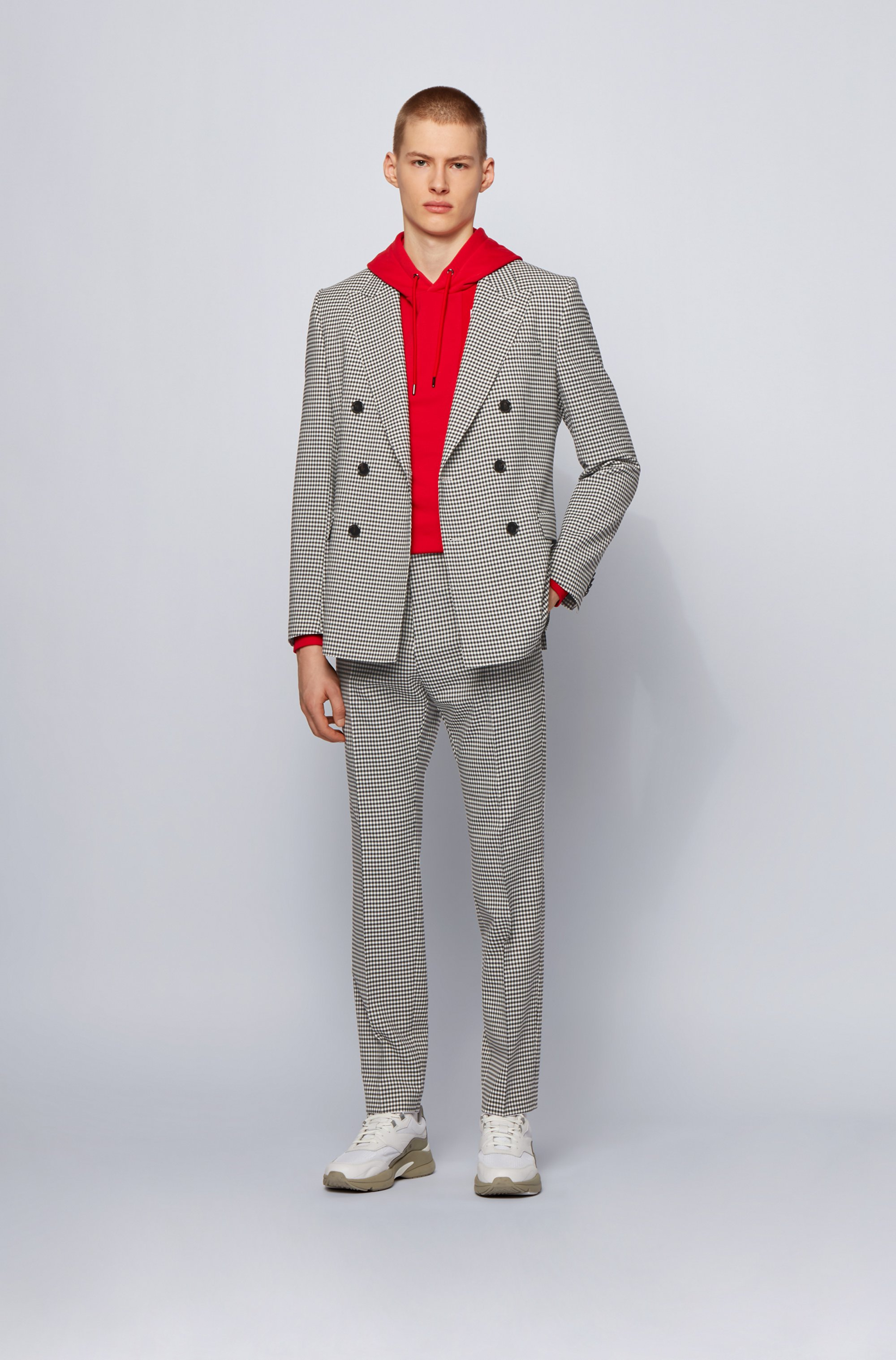 Extra-slim-fit jacket in checked fabric