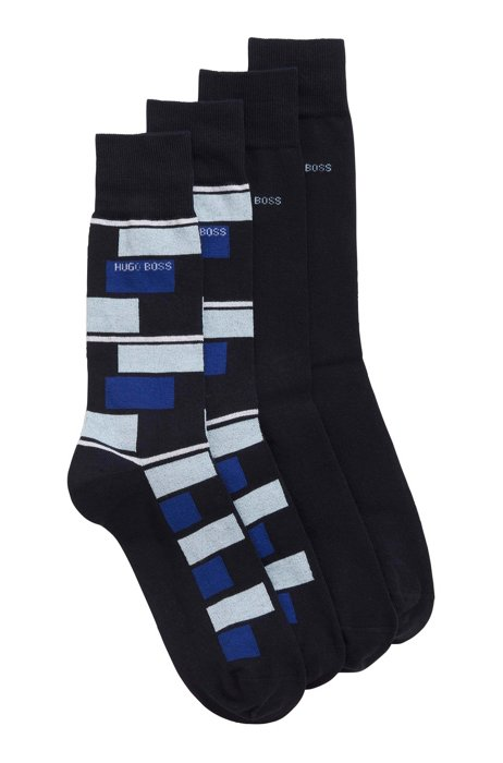 Two-pack of socks in a combed-cotton blend, Dark Blue