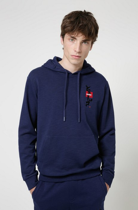 Relaxed-fit hoodie in French terry with calligraphy artwork, Light Blue