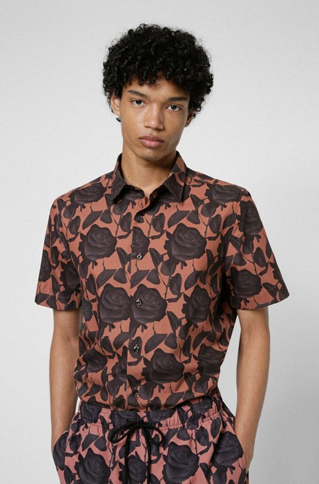 Relaxed-fit shirt in cotton canvas with rose print, Light Brown
