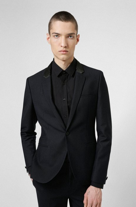 Extra-slim-fit jacket in performance-stretch cloth, Dark Blue