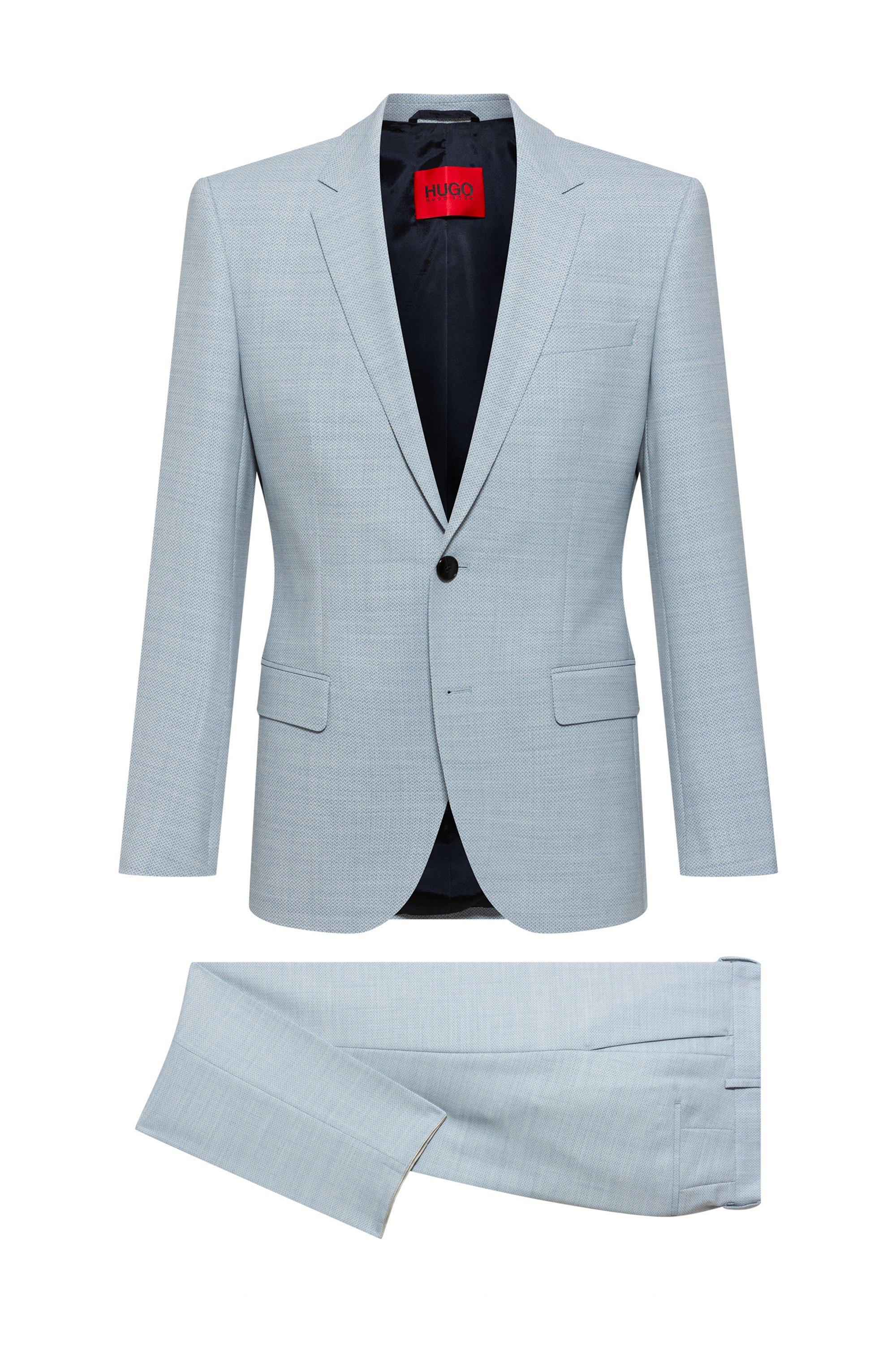 Slim-fit suit in micro-patterned super-flex fabric, Light Blue