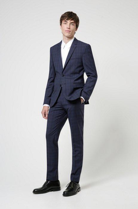 Costume Extra Slim Fit en laine vierge très souple, Bleu foncé