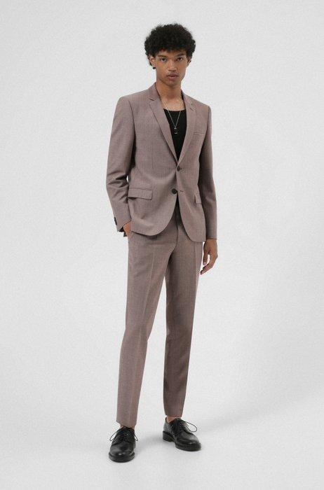 Extra-slim-fit suit in super-flex wool-blend cloth, Light Brown