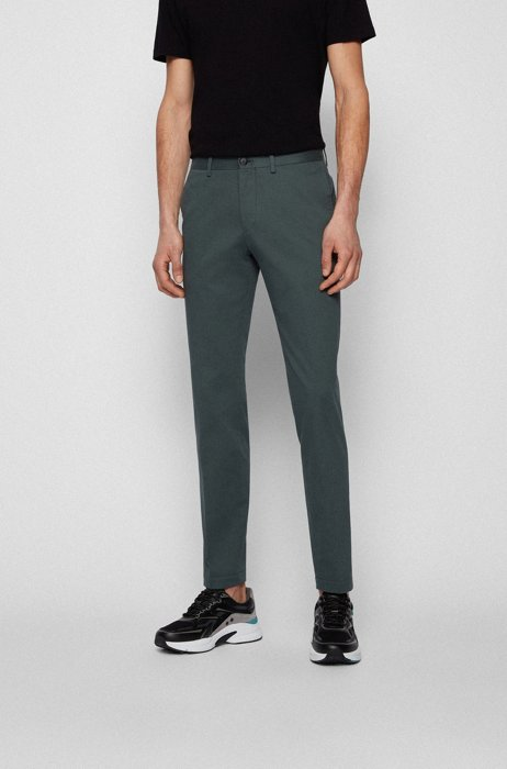 Extra-slim-fit stretch-cotton pants with monogram lining, Dark Green