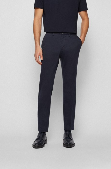 Extra-slim-fit stretch-cotton pants with monogram lining, Dark Blue