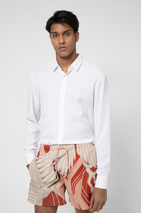 Extra-slim-fit shirt in twill fabric, White
