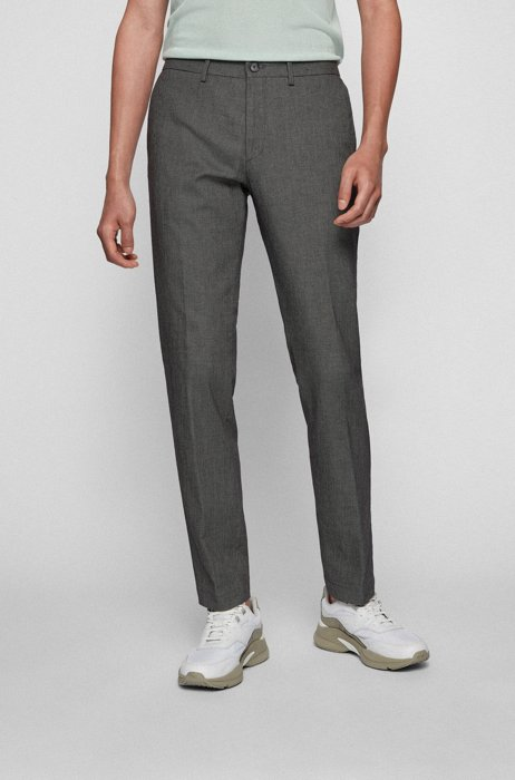 Extra-slim-fit stretch-cotton pants with micro pattern, Silver