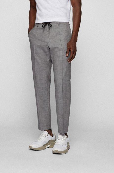 Slim-fit pants in melange virgin wool, Silver