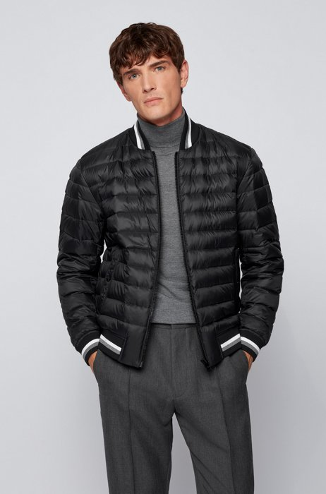 Down-filled bomber jacket with striped trims, Black