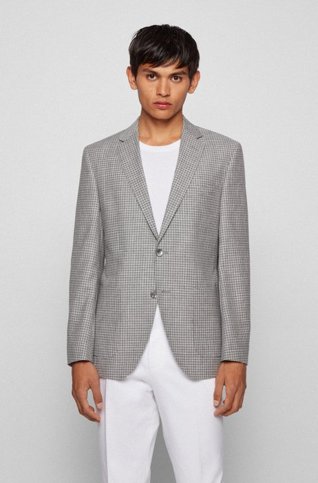 Regular-fit jacket in virgin wool, cotton and linen, Silver
