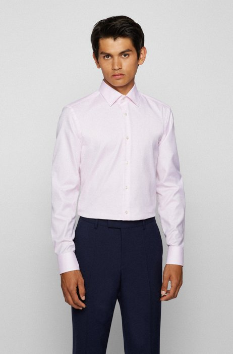 Slim-fit shirt in structured cotton with aloe-vera finishing, light pink
