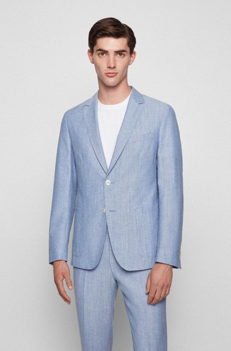Slim-fit jacket in cotton and virgin wool, Light Blue