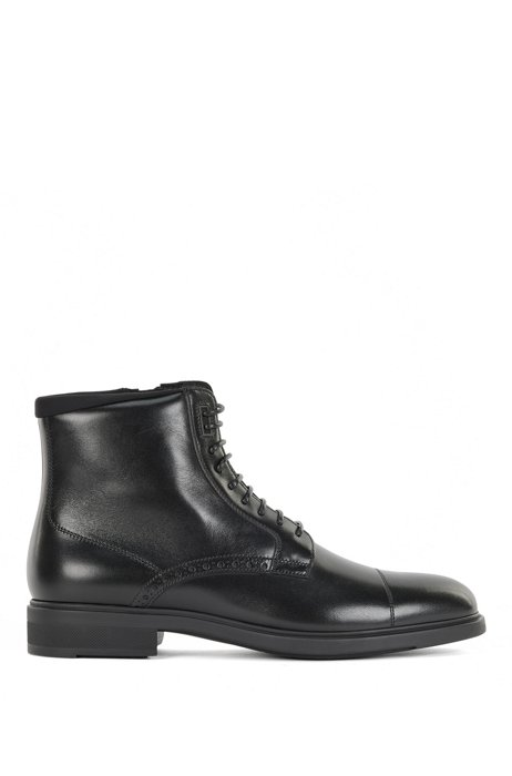 Half boots in burnished Italian leather with brogue details, Black