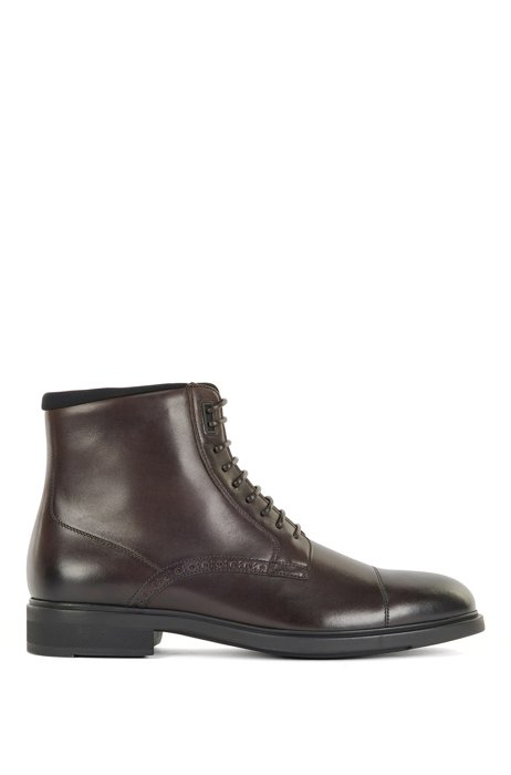 Half boots in burnished Italian leather with brogue details, Dark Brown