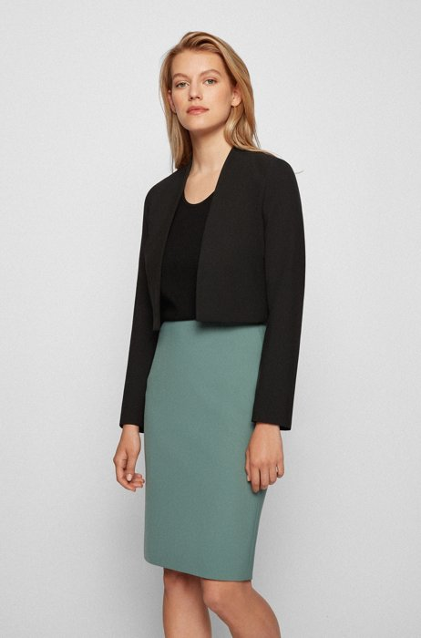 Regular-fit cropped jacket in stretch fabric, Black
