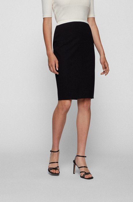 Stretch-jersey pencil skirt with contrast waistband, Black