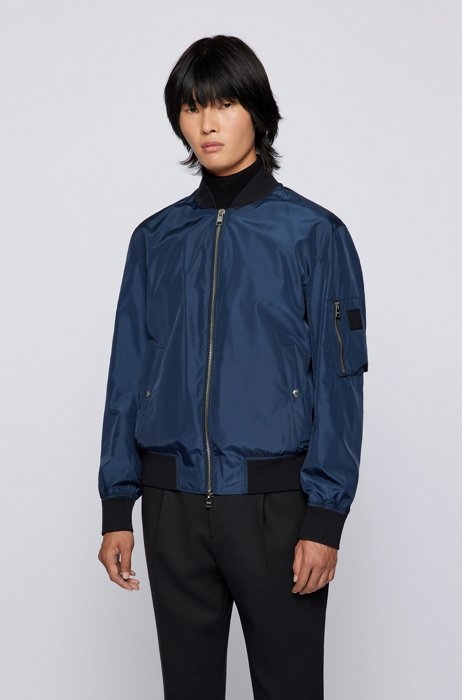 Water-repellent blouson jacket with partially recycled wadding, Dark Blue