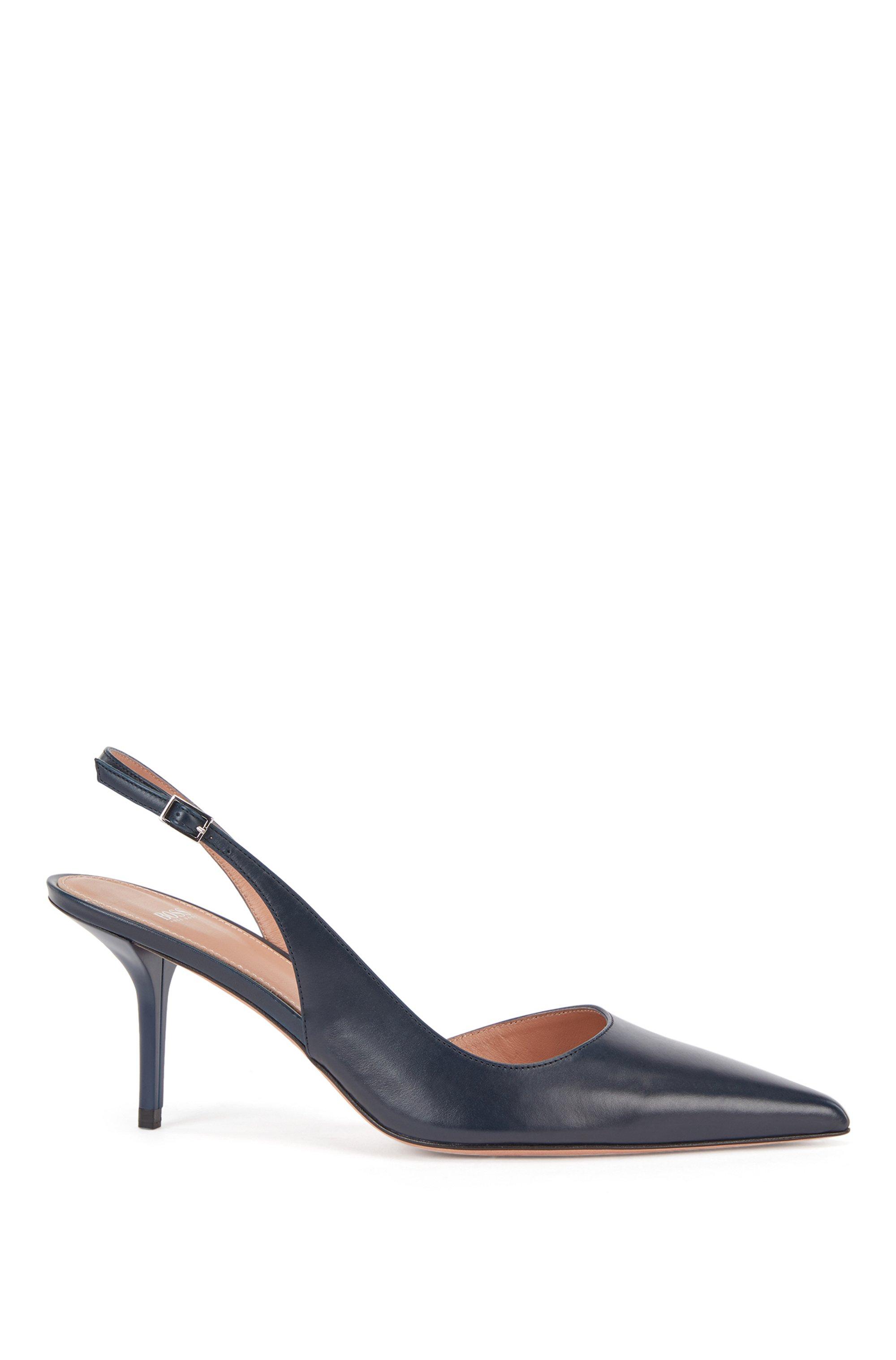 Slingback shoes in Italian leather, Dark Blue