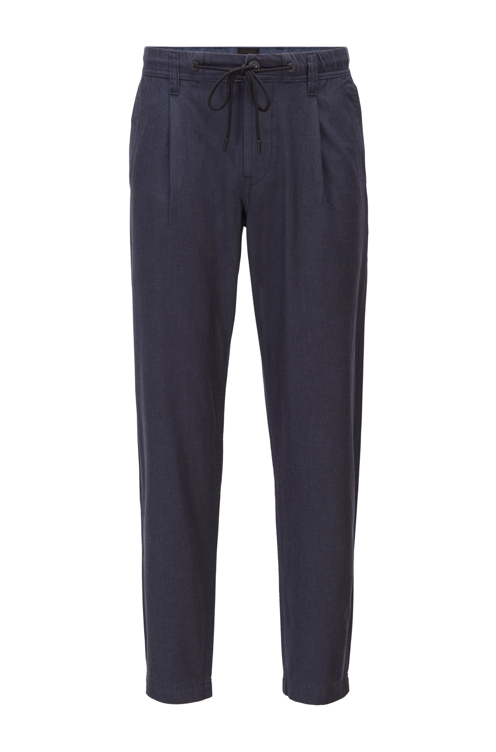 Tapered-fit drawstring pants in super-soft stretch twill, Dark Blue