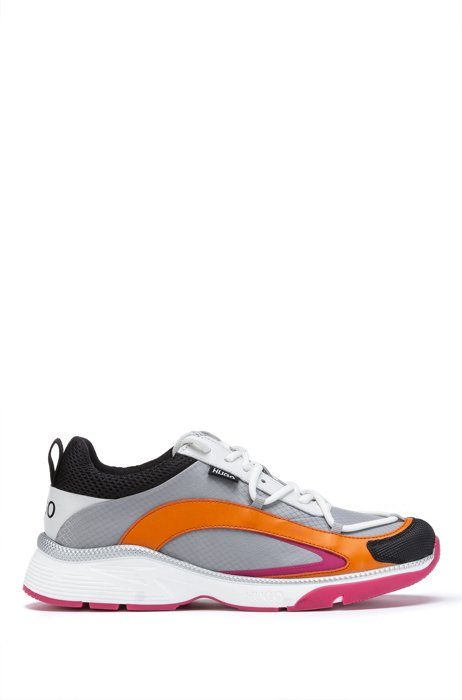 Pop-color running-style trainers in mixed materials, Light Grey