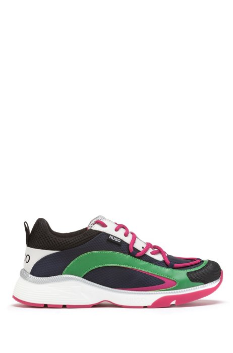 Pop-color running-style trainers in mixed materials, Dark Blue
