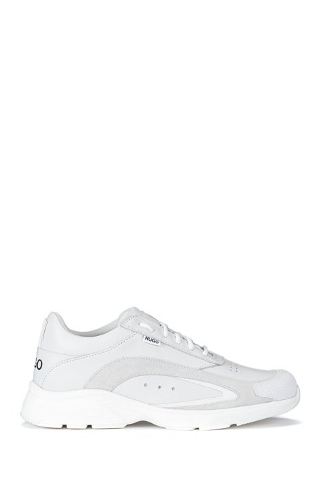 Leather low-top trainers with embossed logo detail, White