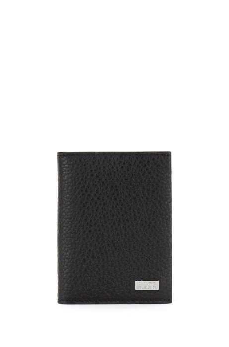 Italian-leather card holder with logo plate, Black