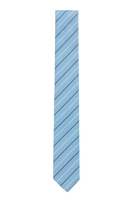 Striped tie in wrinkle-free recycled fabric, Light Blue