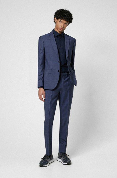 Costume Regular Fit en tissu de laine mélangée à motif, Bleu foncé