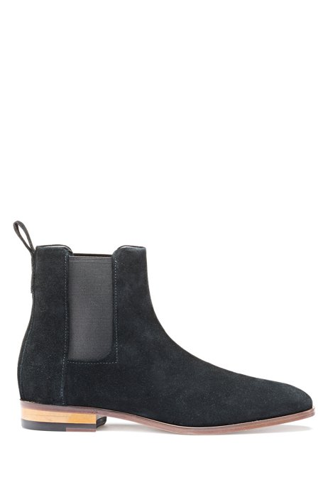 Chelsea boots in waxed suede, Black