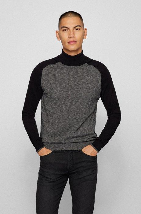 Slim-fit turtleneck sweater in lightweight cotton, Dark Grey