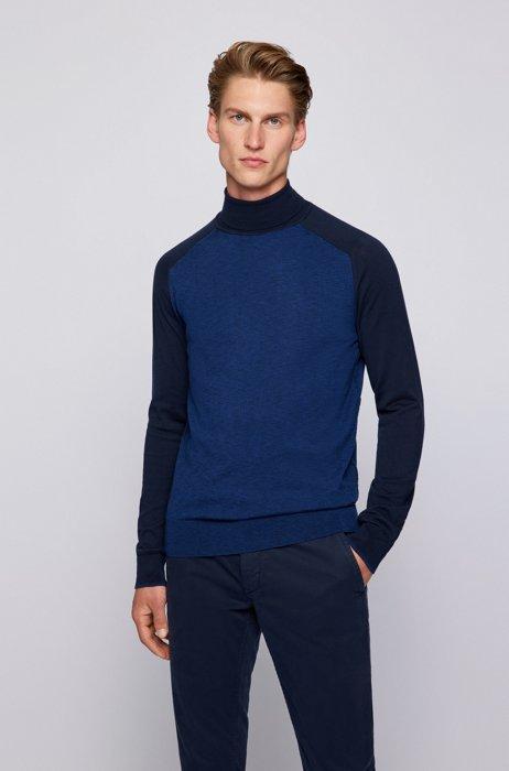 Slim-fit turtleneck sweater in lightweight cotton, Dark Blue