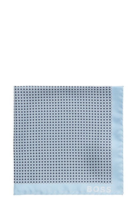 Italian-made printed pocket square with rolled hem, Light Blue