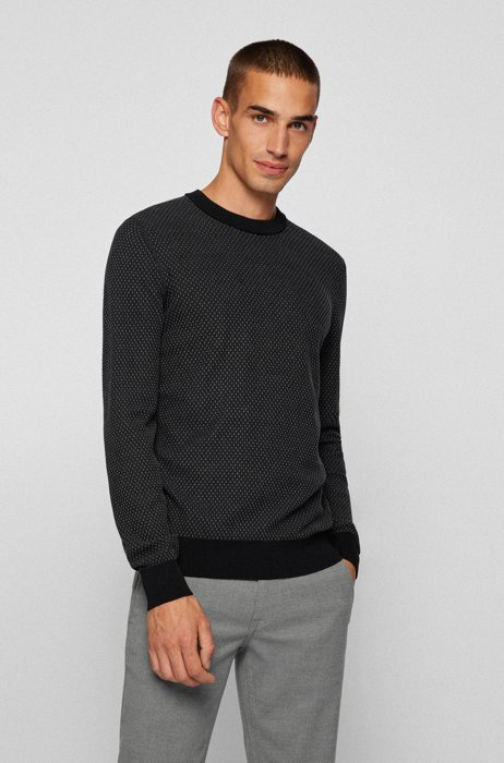 Jacquard-knit sweater in organic cotton and kapok, Black
