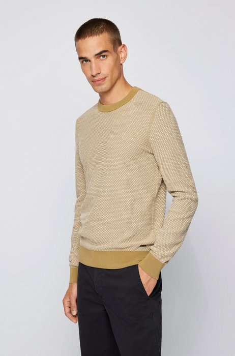 Jacquard-knit sweater in organic cotton and kapok, Beige