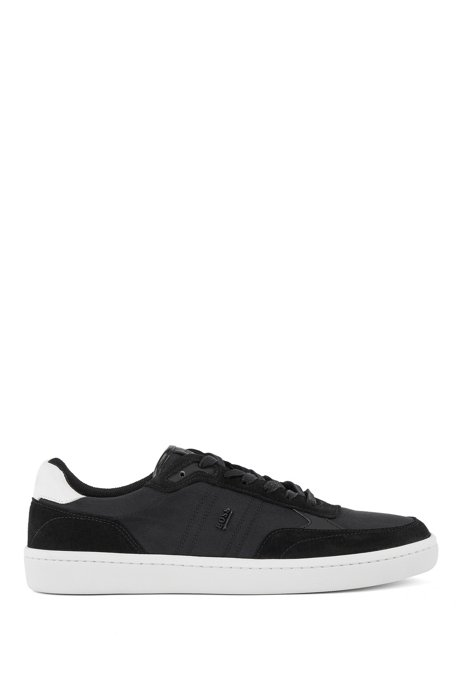 Cupsole trainers in SEAQUAL™ fabric with suede trims, Black