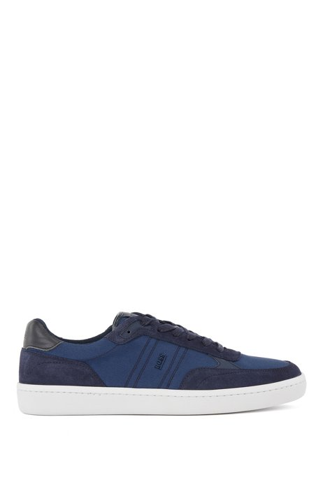 Cupsole trainers in SEAQUAL™ fabric with suede trims, Dark Blue