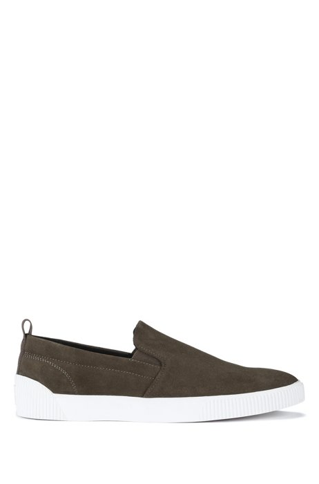 Slip-on suede shoes with contrast rubber sole, Dark Green