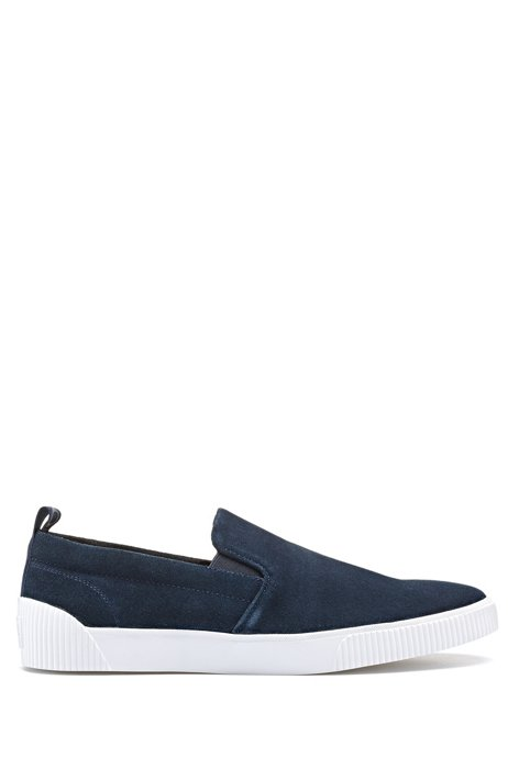 Slip-on suede shoes with contrast rubber sole, Dark Blue