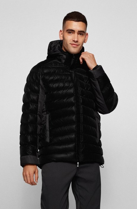 Relaxed-fit padded jacket with 3D quilted pattern, Black