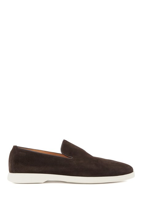 Suede loafers with embossed logo, Dark Brown