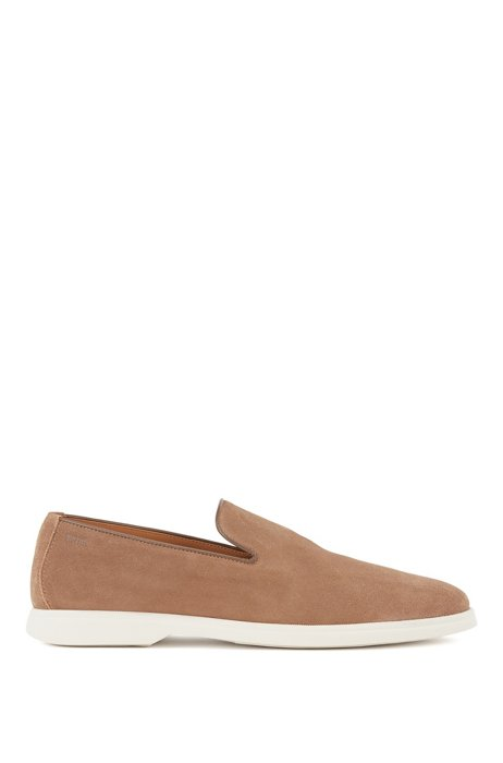 Suede loafers with embossed logo, Beige